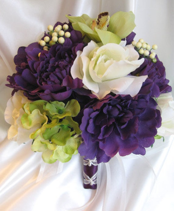 Wedding Bouquets Not Flowers: Wedding Bouquet Bridal Flowers PURPLE GREEN ORCHID 10 Pc