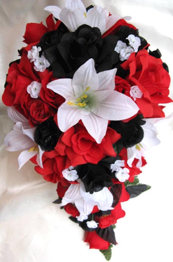 Wedding Bouquet Bridal Silk Flowers Cascade Black Red White Etsy