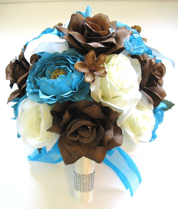 Brown Wedding Flowers: Wedding Bouquet Bridal Silk Flowers TURQUOISE BROWN CALLA