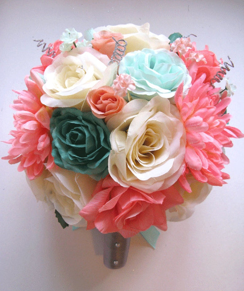 034628c10d Wedding Bouquet Bridal Silk flower CORAL TEAL MINT green Gray Peach Silver  17 pcs Package Flowers arrangement centerpiece