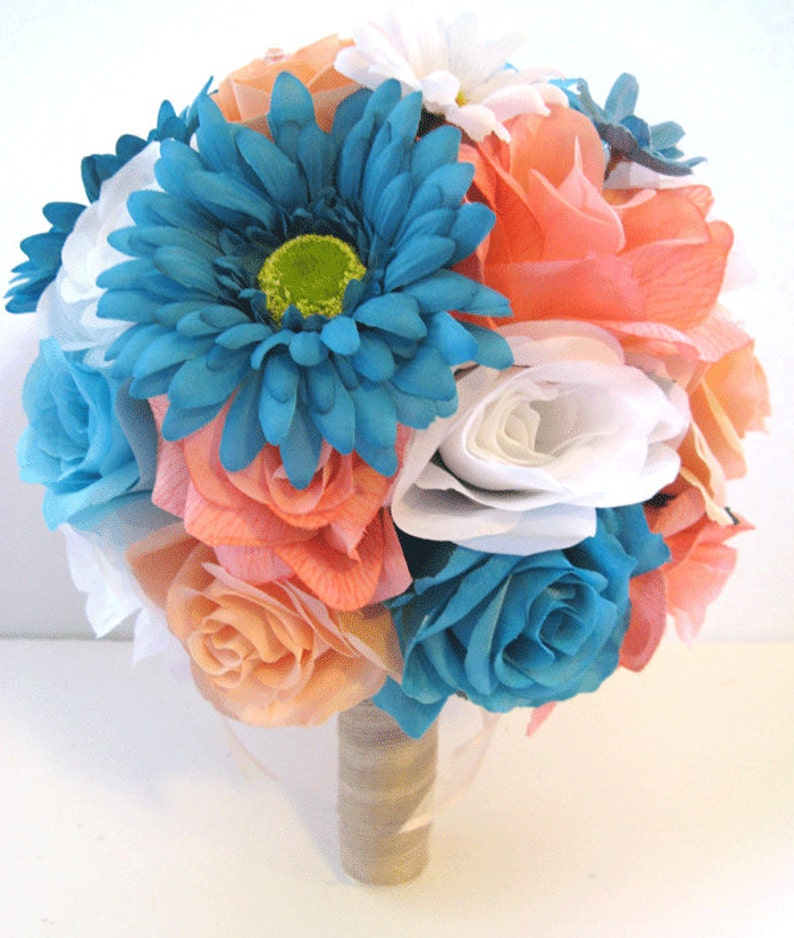 Wedding Silk Flowers Bouquet Bridal Coral Peach Aqua Turquoise Etsy