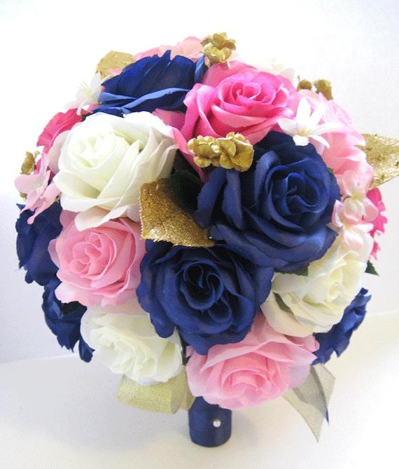 Wedding silk flowers bridal bouquet hot pink navy light pink etsy image 0 mightylinksfo