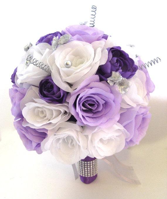 Wedding Flowers Silk Bridal Bouquet 17 Piece Package Lavender Etsy