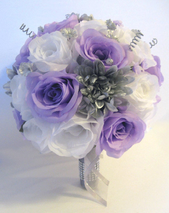 Wedding silk flowers bridal bouquet lavender lilac silver gray etsy image 0 mightylinksfo