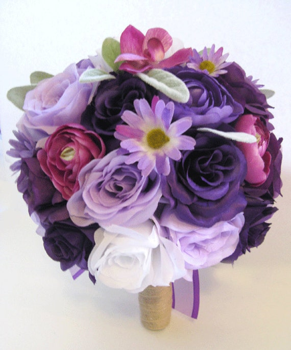 Wedding Flowers Silk Bridal Bouquet 17 Piece Package Lavender Etsy