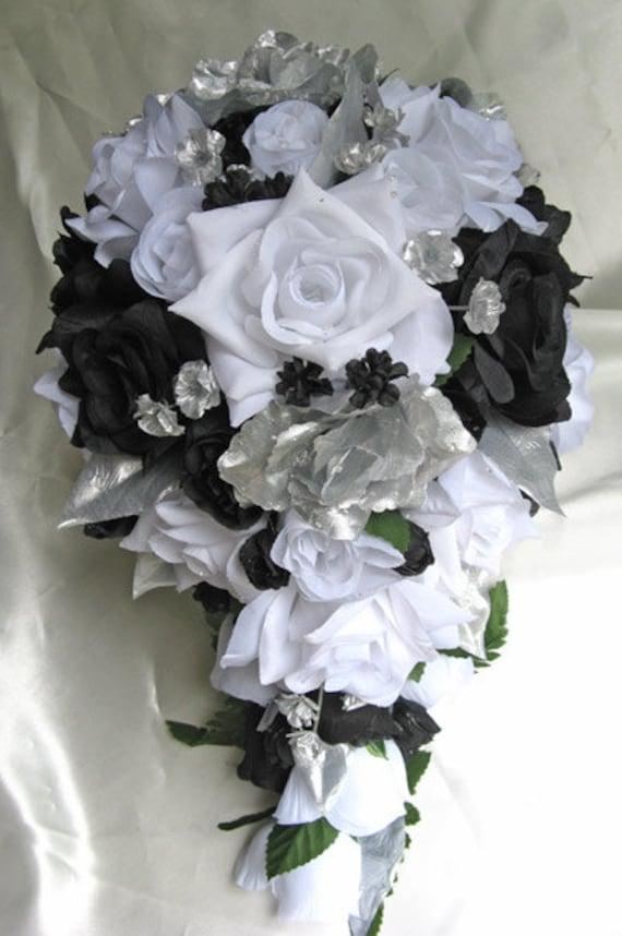 Wedding bouquet bridal silk flowers cascade black silver white etsy image 0 mightylinksfo