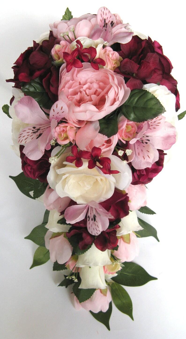 17 piece package Wedding bouquets Bridal bouquet Wedding Silk flowers BURGUNDY Light PINK MAUVE Wine Wedding Centerpieces RosesandDreams