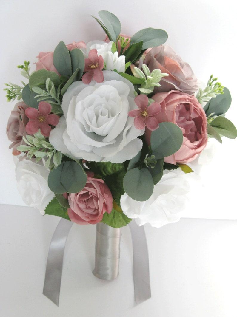 Wedding bridal set 17 Piece Bridal Bouquets Light GRAY MAUVE WHITE Silver Pink Wedding Silk flower bouquet Bridesmaid set RosesandDreams