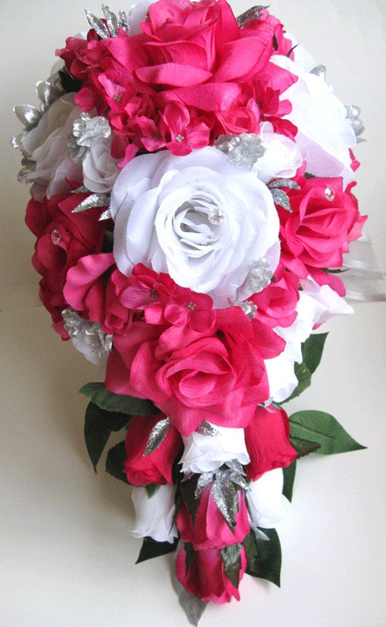 Bouquet Sposa Fucsia.Matrimonio Bouquet Sposa Seta Fiori Fucsia Cascata Calda Rosa Grigio Argento 17 Pezzo Pacchetto Bouquet Fiore Centrotavola Rosesanddreams