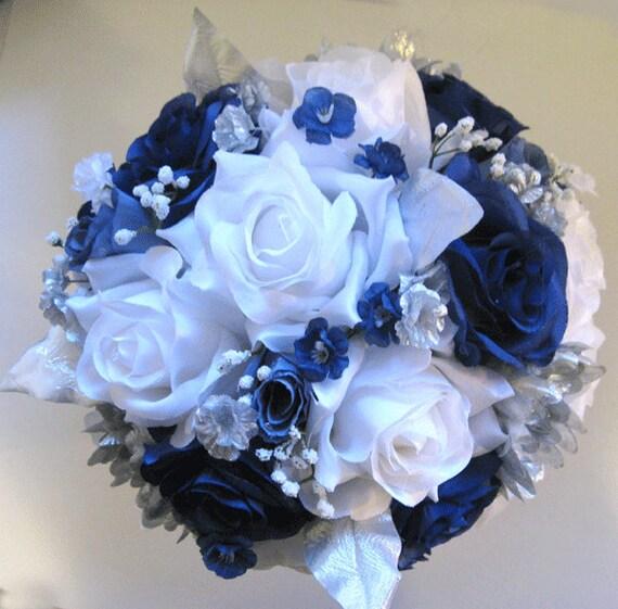 Wedding bouquet bridal silk flowers 21 piece package dark blue etsy image 0 mightylinksfo
