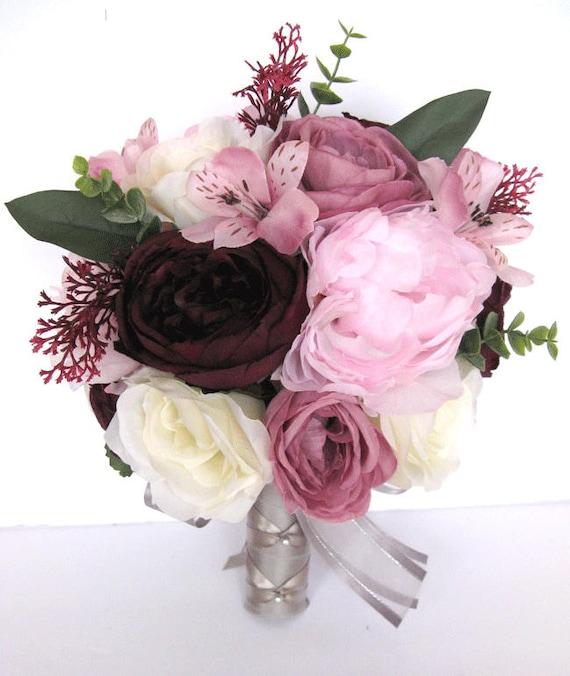 Rosa Hochzeit Blumenstrauss Lila Blumenstrauss Brautstrausse Etsy
