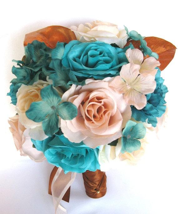 Wedding Bouquet 17 Piece Package Bridal Silk Flower Bouquets Etsy