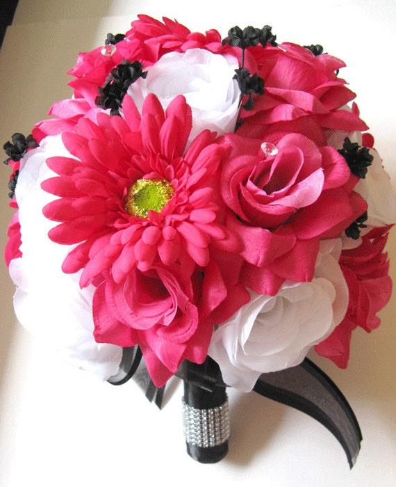 Wedding bouquet bridal silk flowers decoration fuchsia daisy etsy image 0 mightylinksfo