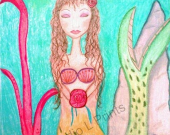 Peaceful Mermaid -  Giclee Print of Original Mixed Media Artwork