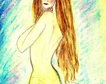 Modest Mermaid -  Giclee Print of Original Artwork