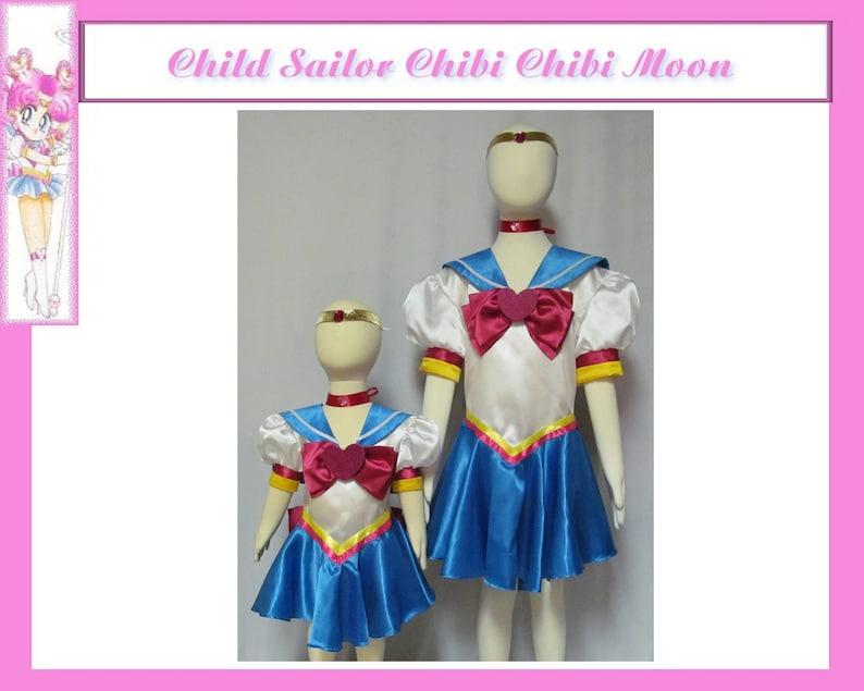 Sailor Moon Sailor Chibimoon 7 Piece Cosplay Costume Custom Any Size