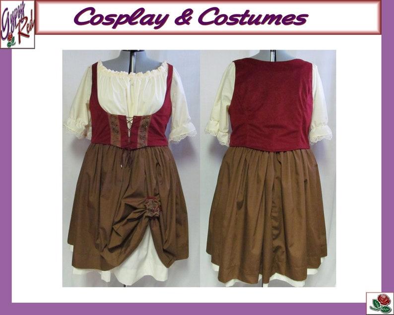 Christmas Medieval Rennaisance Faire Barmaid Maiden Peasant LARP Costume Adult Women/'s Size 4 6 8 10 12 14