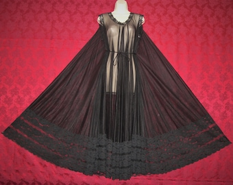 Exquisite INTIME vintage black chiffon nightgown ed1971622