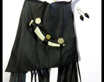 Lawless Revolution Handmade Mystic Messenger with Black Leather Fringe,Antler Bone, Foreign Coins/Clothes for Nomads/Psychedelic Shaman Chic