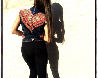 Lawless Revolution Handmade, Re Purposed Levi's Denim Vest with African Textile/ Nomad/ Bohemian Chic/ Psychedelic Shaman Chic/ Unique Gifts