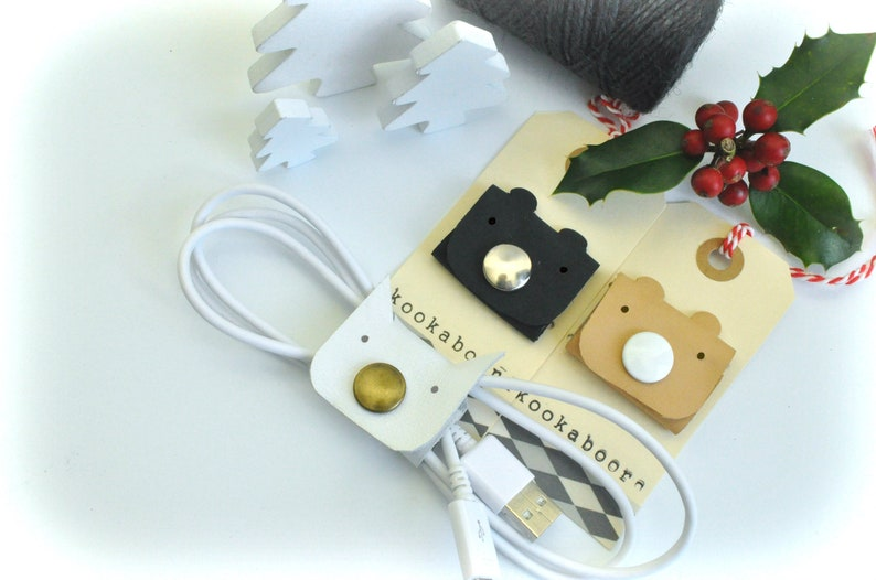 headphone wrap cable cover Leather cable clip cable holder cord keeper