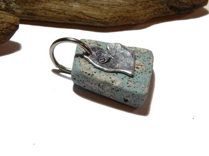 Leland Blue Pendant  Hand Stamped Michigan charm beach stone up north Lake Michigan  jewelry slag glass
