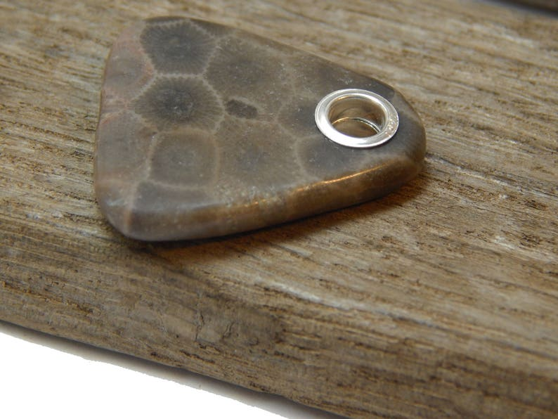 hand polished beach stone Petoskey Stone Pendant up north fossil Lake Michigan coral rustic earthy stone 925 Sterling Silver Grommet
