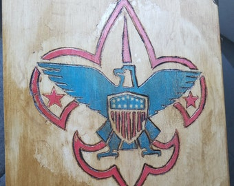 fcb1de19c Eagle scout award box featuring wooden burned artwork and more