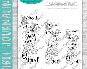 Bible Journaling Verse Art - Margin Art - Bookmark featuring Psalm 51:10 Create in Me a Pure Heart