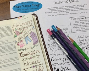 Bible Journaling Verse Art - Margin Art - Bookmark featuring Colossians 3:12 Clothe yourself with compassion, kindness