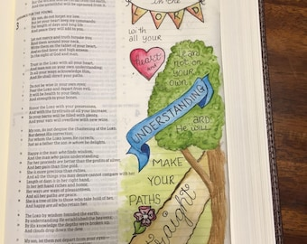 Bible Journaling Verse Art - Margin Art - Bookmark featuring Proverbs 3:5-6, Trust in the Lord.