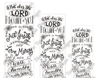 Bible Journaling Verse Art - Margin Art - Bookmark featuring Act Justly, Love Mercy, Walk Humbly