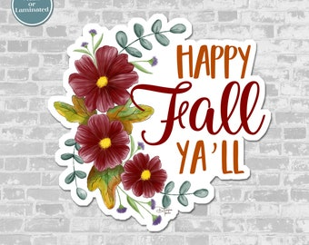Happy Fall Ya'll Vinyl Sticker | Autumn Journaling Sticker, Planner or BUJO Sticker or Scrapbooking Sticker