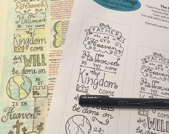Bible Journaling Verse Art featuring the Lord's Prayer - Matthew 6:9-10