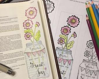 Bible Journaling Verse Art - Margin Art - Bookmark featuring Philemon 1:7 - Great Joy