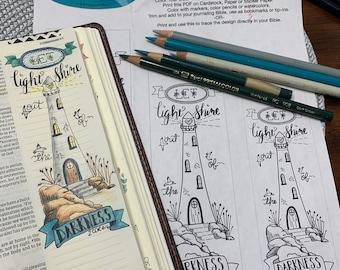 Bible Journaling Verse Art - Margin Art - Bookmark featuring 2 Corinthians 4:6 - Let Light Shine in the Darkness