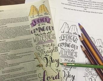Bible Journaling Verse Art - Margin Art - Bookmark featuring John 1:23 – The Voice in the Wilderness