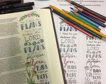 Bible Journaling Verse Art - Margin Art - Bookmark featuring Jeremiah 29:11, For I know the plans I have for you declares the Lord.