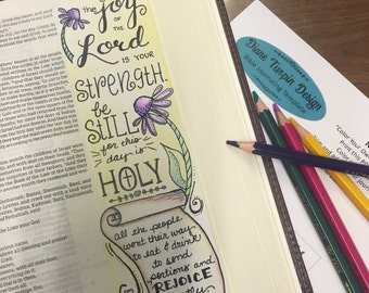 Bible Journaling Verse Art - Margin Art - Bookmark featuring Nehemiah 8:10-12 – The Joy of the Lord is Your Strength
