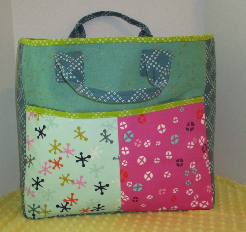 Sewing Tote or Knitting Tote 15.5 Tall x 19 Wide x 5 deep All Cotton /& Steel Fabrics 50.00 One of a Kind BOXCAR Tote Large Tote