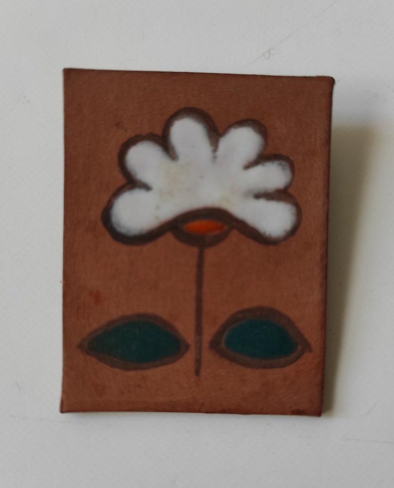 Handmade brooch with enamel design One of a kind brooch. Ceramic Brooch Argentina 70/'s Vintage