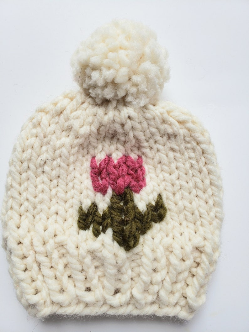 Beanie Hat Attached Pom Pom Toddler Bulky Yarn TeenAdult Sizes. Knit Hat With A Flower Child