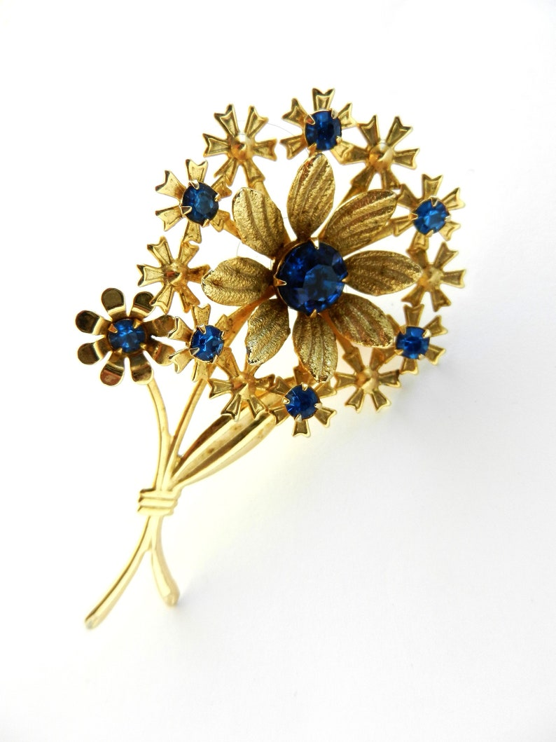 Graceful and feminine stemmed flower brooch - lovely design accentuated by  blue rhinestones and florets -Art 505