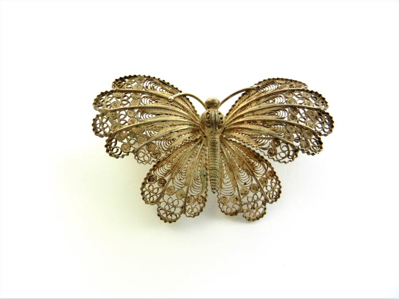 e5b10e3f4f6e9 Antique Filigree butterfly Brooch - antique marked 800 silver filigree  dimensional butterfly brooch - Art.768/4