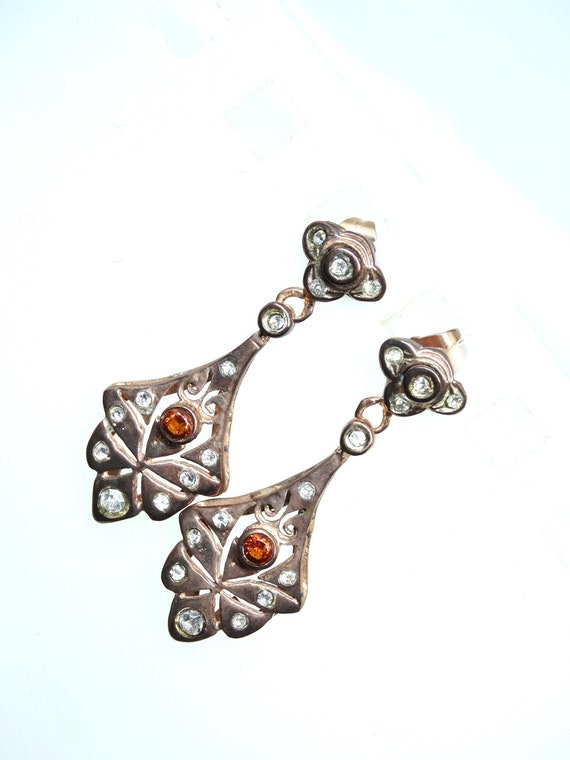 Lovely rose gold plated  Victorian style earrings