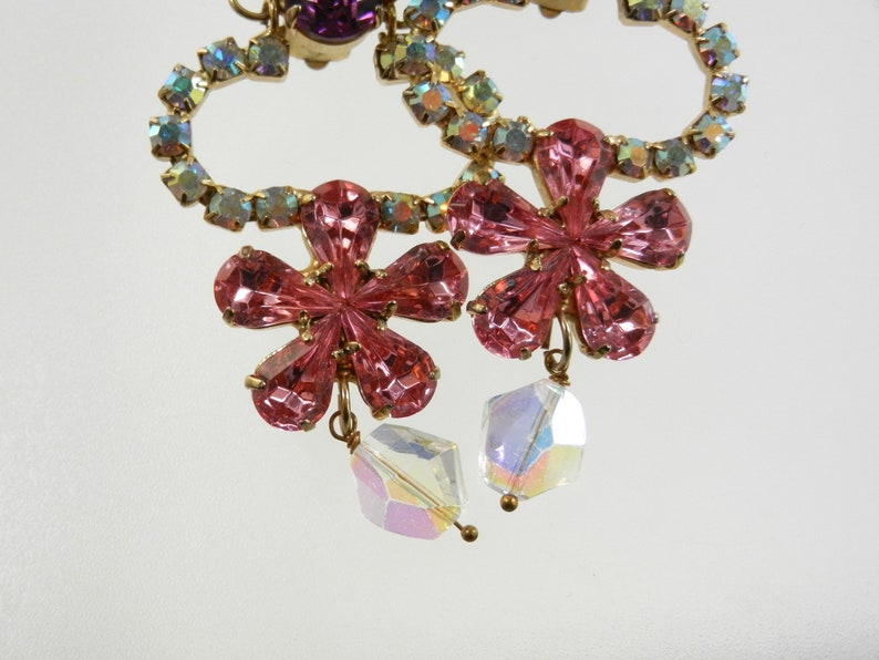 Italian Couture super glowing chandelier earrings Signed with purple and pink crystals accentuated by AB chaton -art.6605