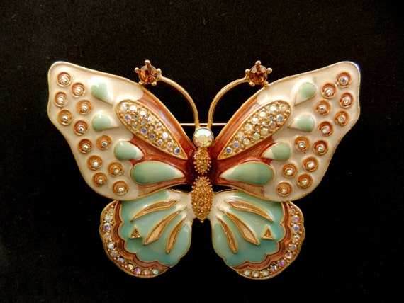 Outstanding, huge, dimensional butterfly brooch /