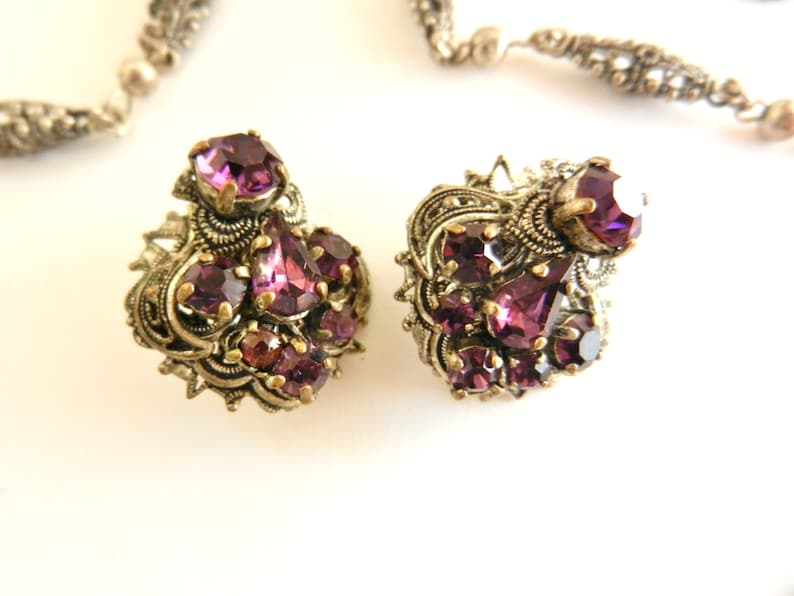 Finely Detailed 1920 Antique filigree Silver Victorian scalloped necklace and earrings set with brilliant amethyst glass stones-art.5984