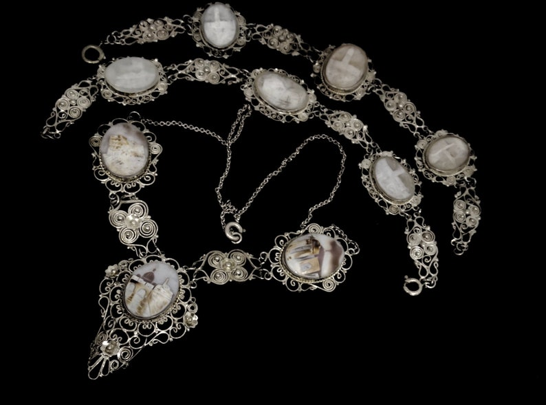 Art.136 gorgeous treasure for collection Antique European Victorian Carved SHELL CAMEO silver filigree Bracelet