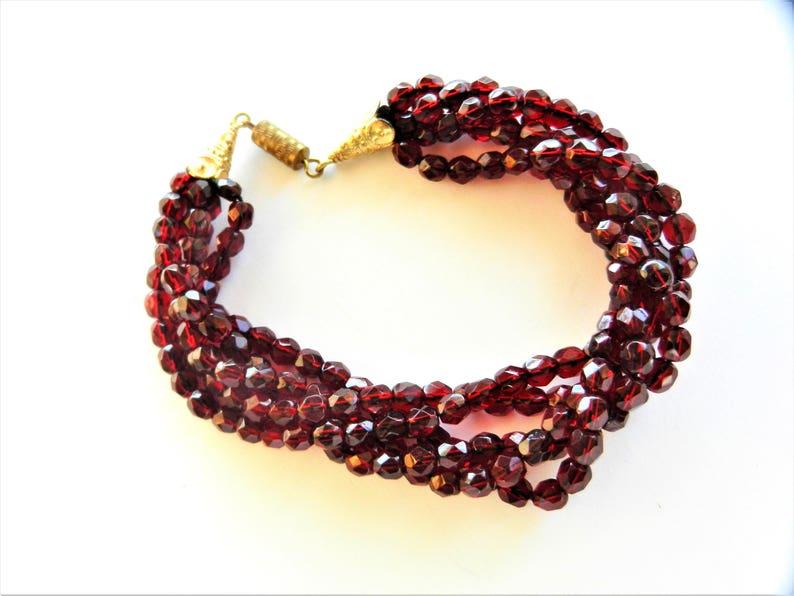 Bohemian garnet glass beads Vintage Garnet Color Faceted Bead Torsade 5 strands Necklace /&  5 strands torsade bracelet art.8024